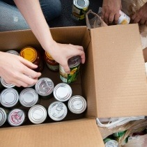 Person placing canned goods in cardboard box